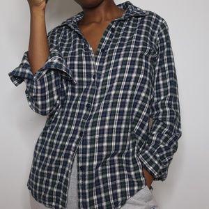 Blue Green Women's Plaid Button Up Flannel S